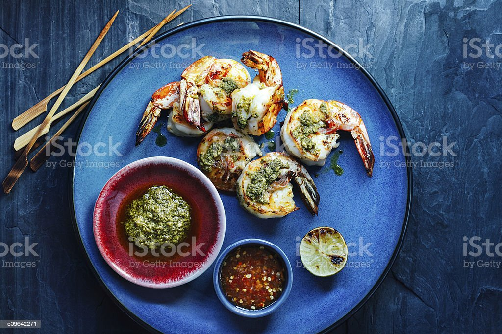 Shrimp satay stock photo