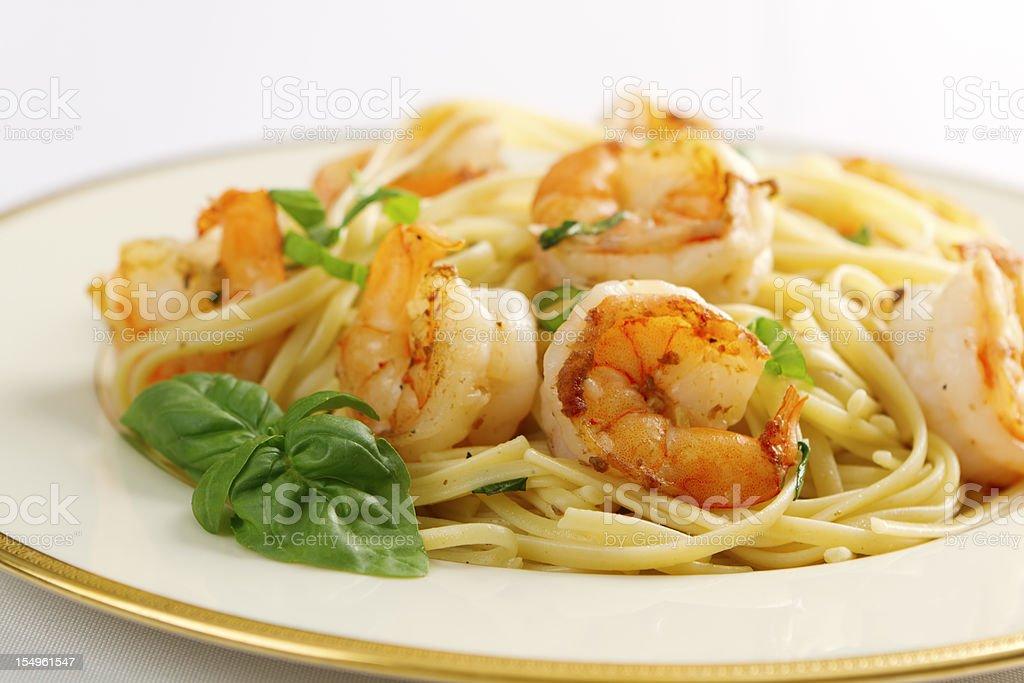Shrimp Scampi and Linguini stock photo