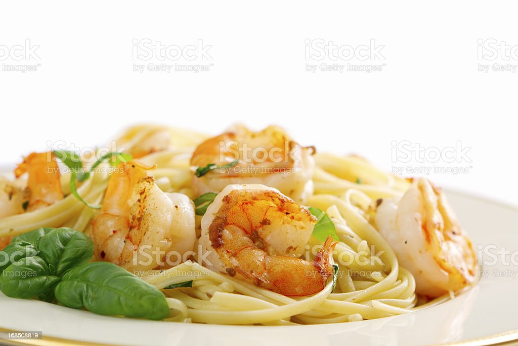 Shrimp Scampi and Linguini royalty-free stock photo