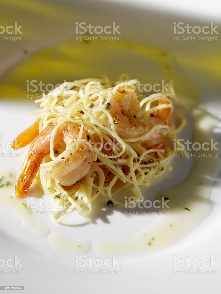 Shrimp Scampi with Angel Hair Pasta royalty-free stock photo