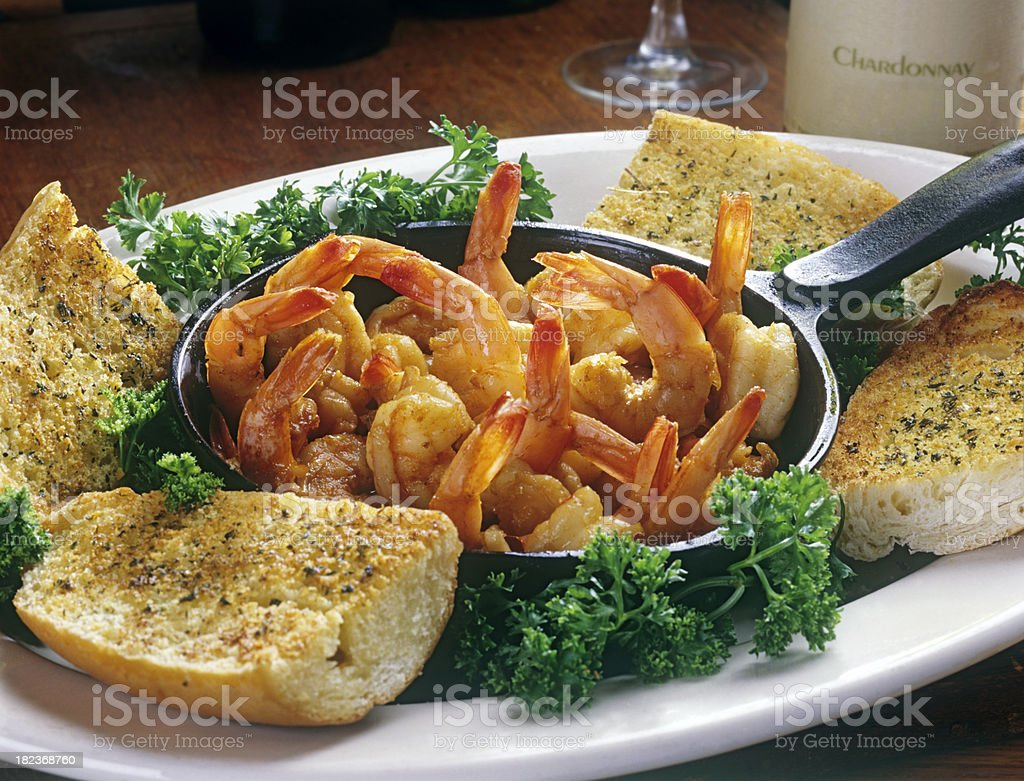Shrimp Scampi with Garlic Bread royalty-free stock photo
