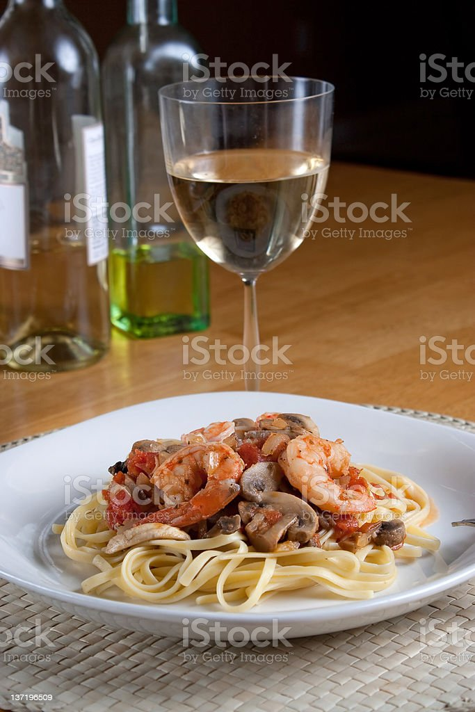 Shrimp Scampi with Linguine royalty-free stock photo