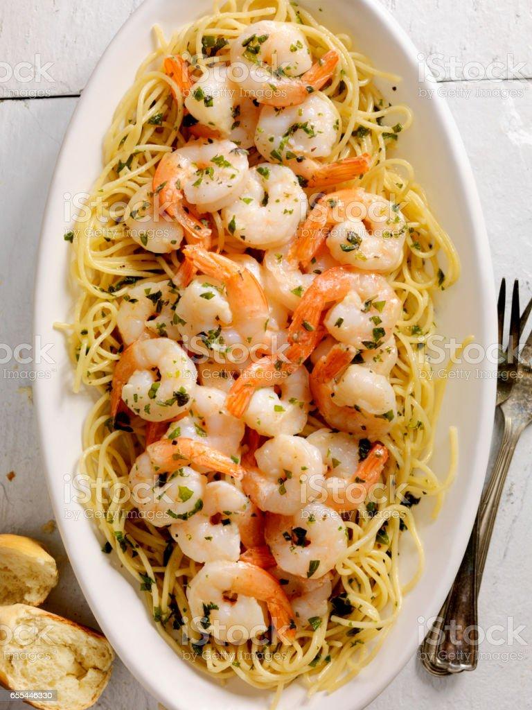 Shrimp Scampi with Pasta stock photo