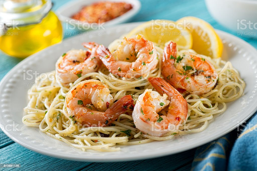 Shrimp Scampi with Spaghetti stock photo