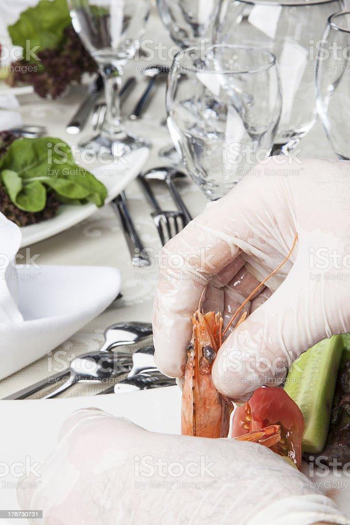 Shrimp Service royalty-free stock photo
