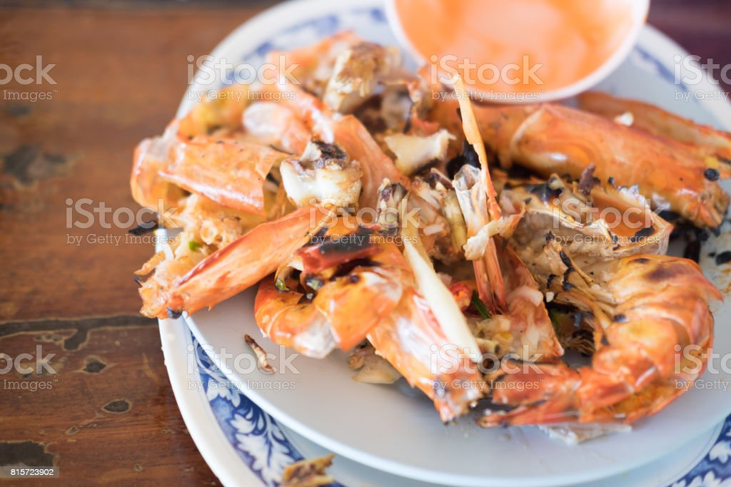 Shrimp shell waste after eating at Thailand restaurant stock photo