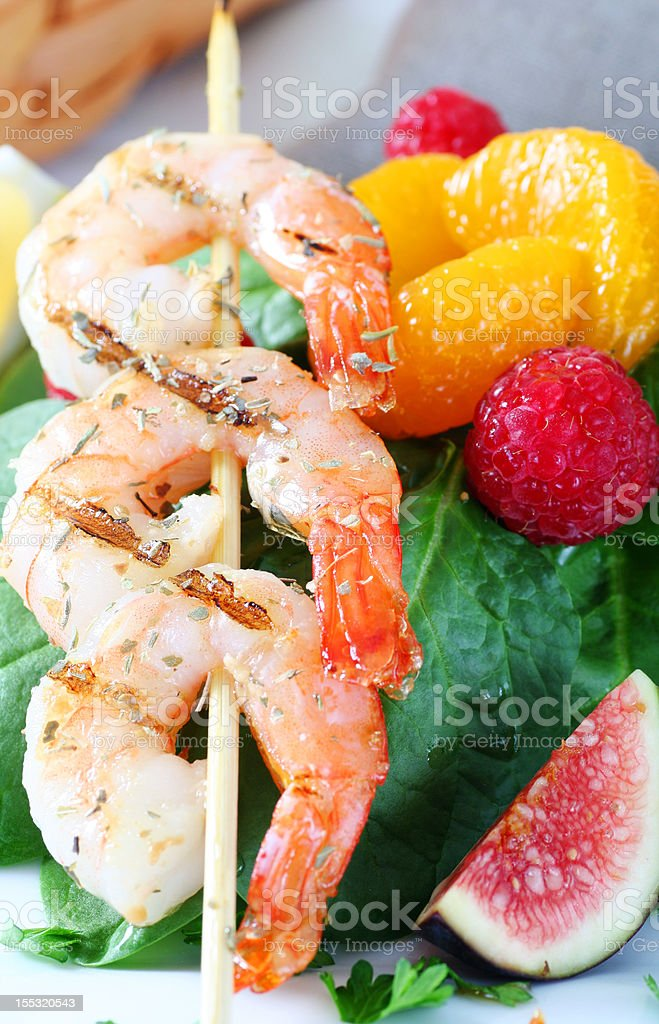 shrimp shish kebab royalty-free stock photo