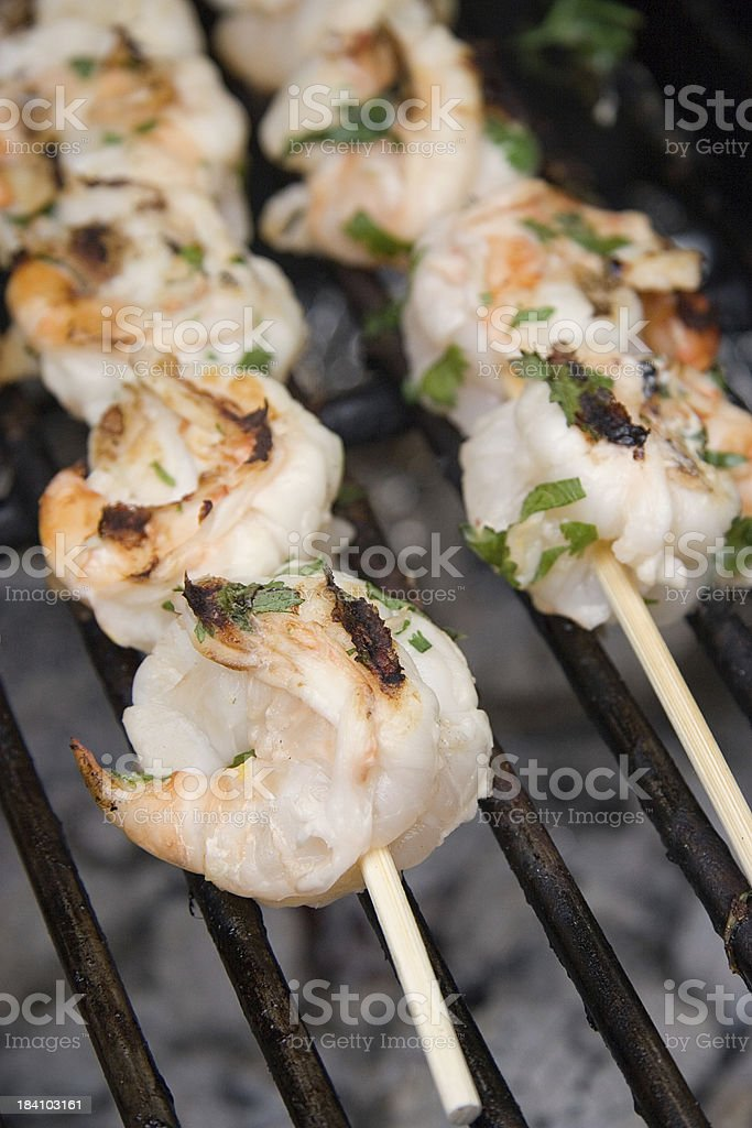 Shrimp Skewers on BBQ royalty-free stock photo
