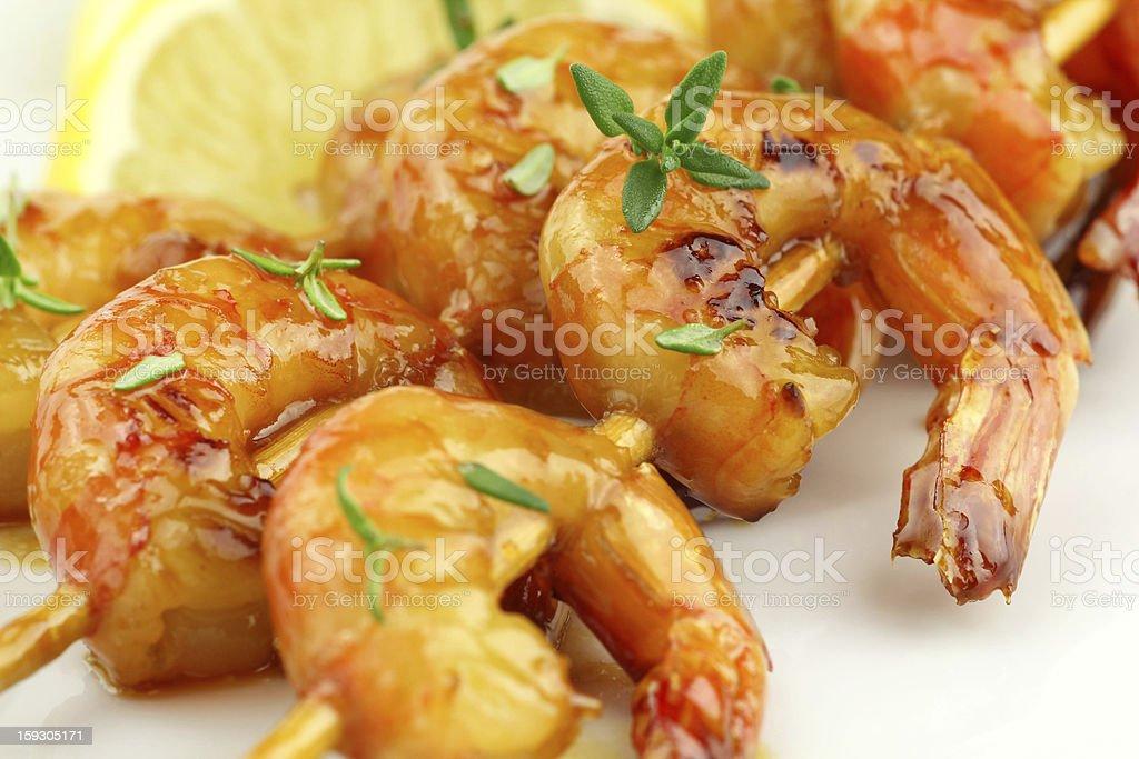 Shrimp skewers royalty-free stock photo