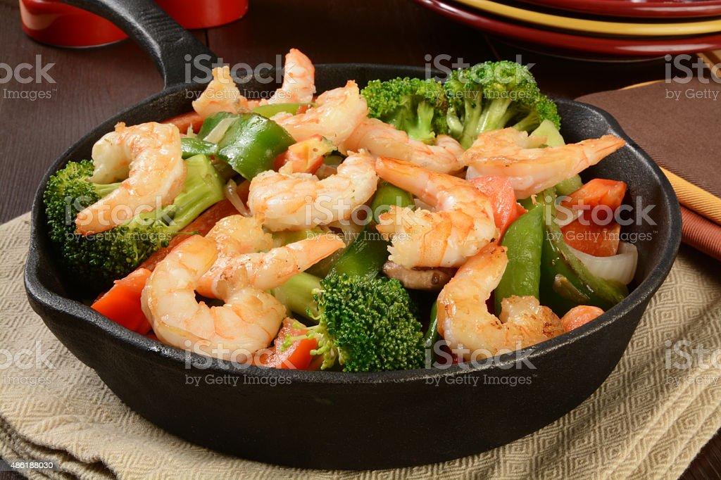 Shrimp stir fry stock photo