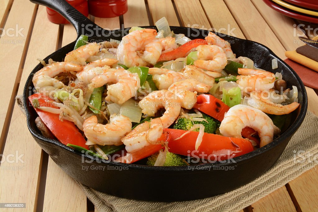 Shrimp stir fry stock photo