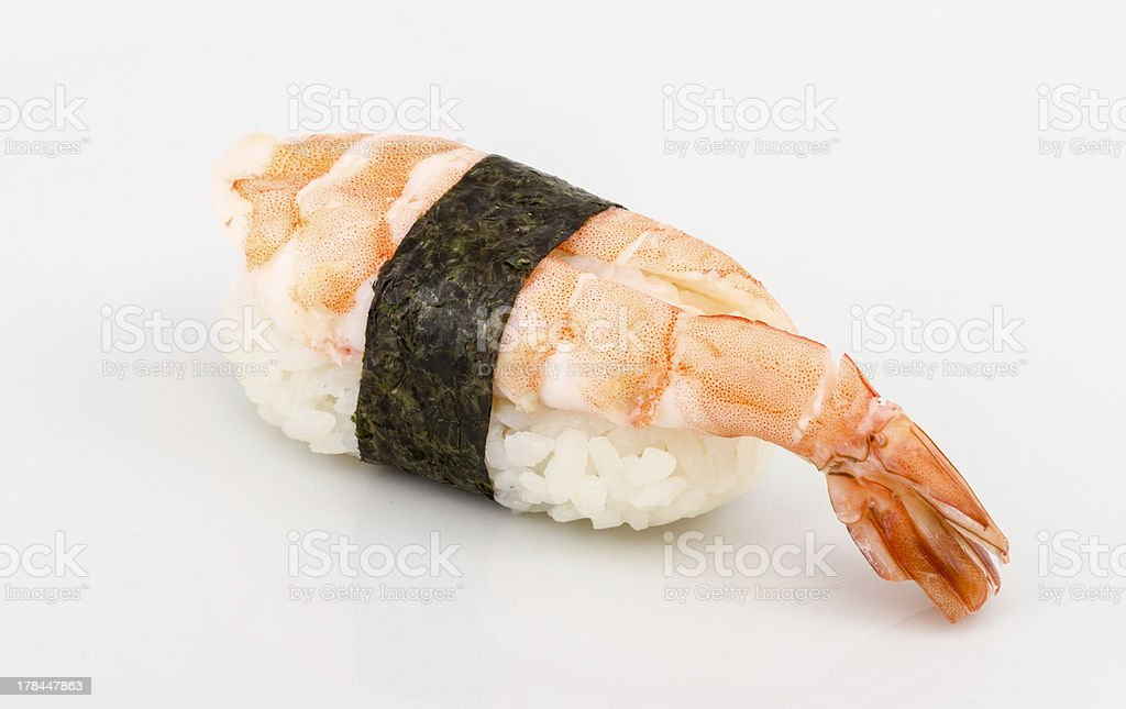 Shrimp sushi closeup isolated on white background royalty-free stock photo