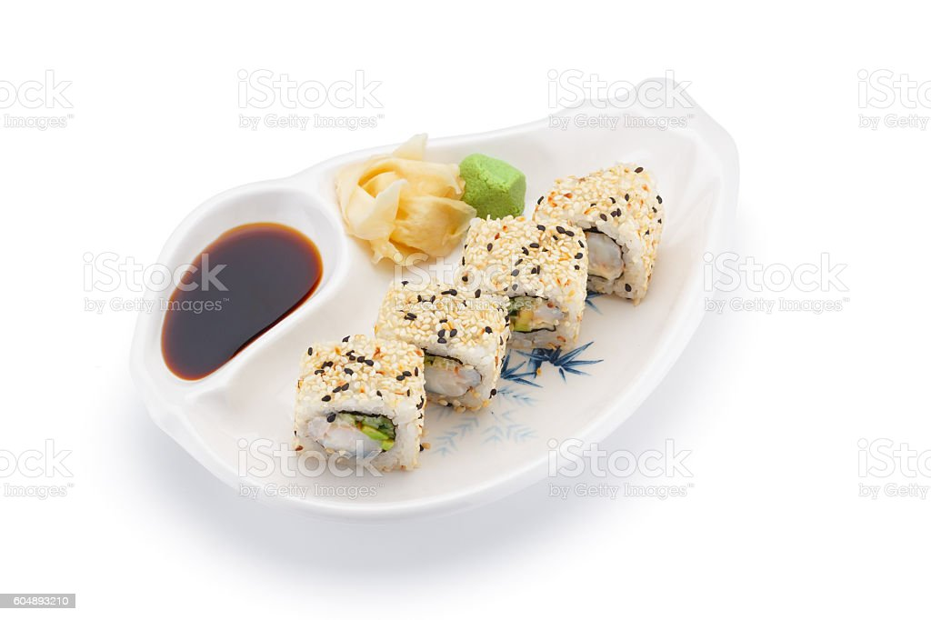Shrimp sushi roll with ginger wasabi and soy sauce stock photo