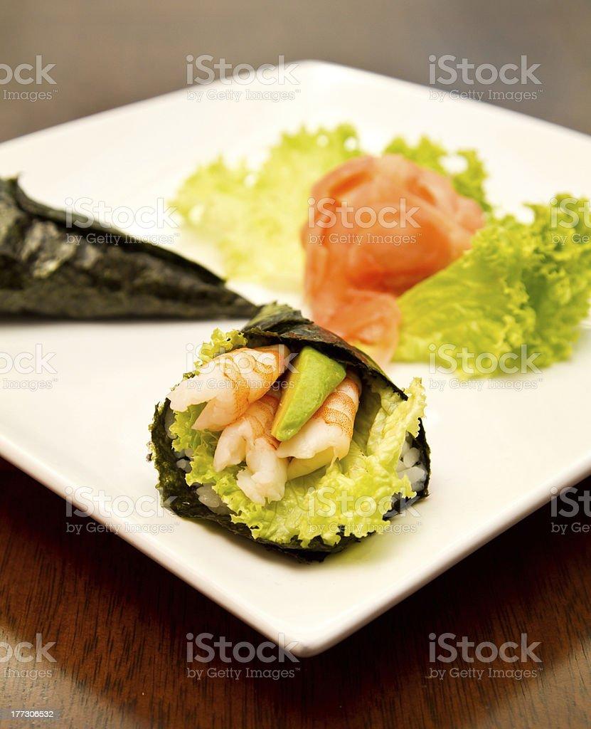 Shrimp temaki royalty-free stock photo