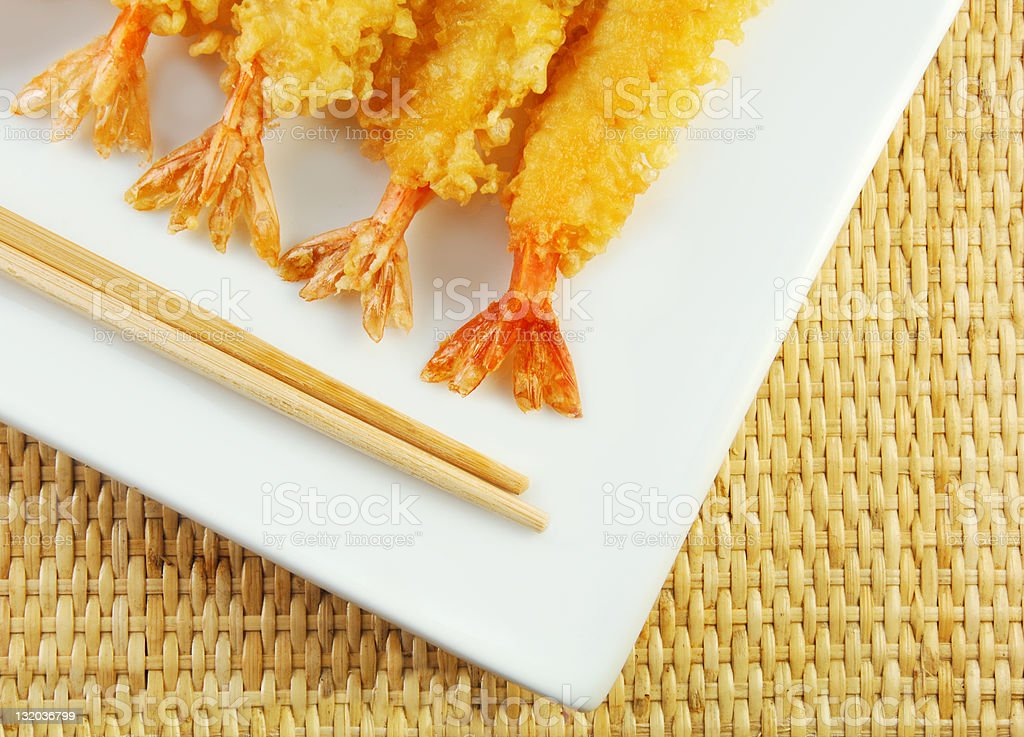 Shrimp Tempura and Chopsticks stock photo