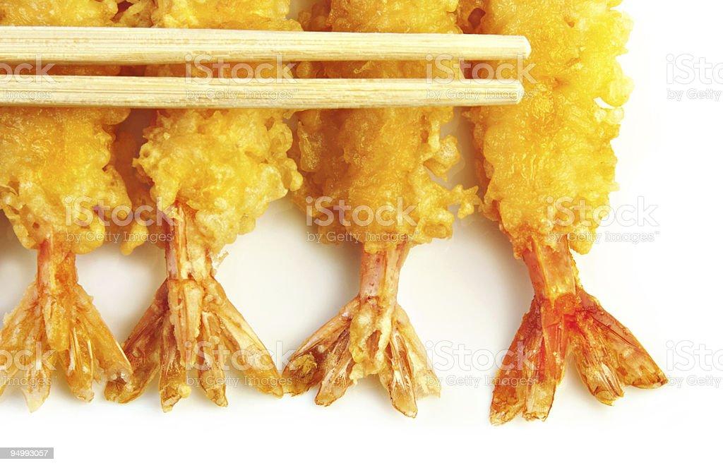 Shrimp Tempura with Chopsticks royalty-free stock photo