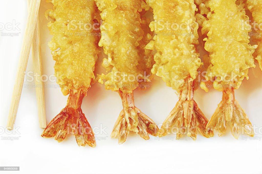 Shrimp Tempura with Chopsticks stock photo