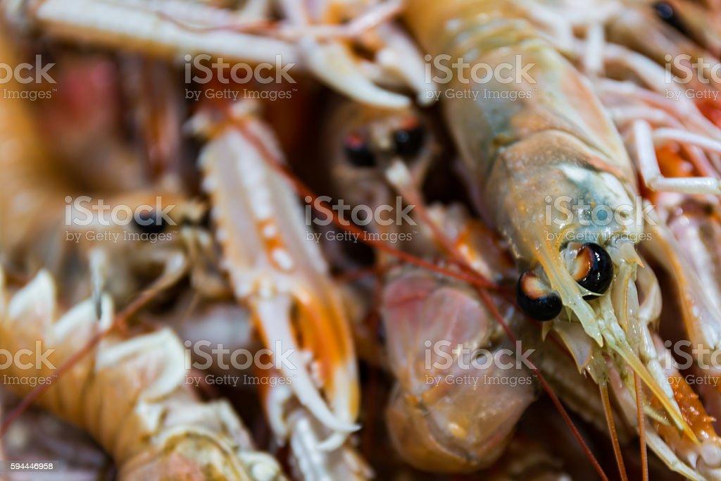 Shrimp Together Macro Detail Sale Seafood Market stock photo