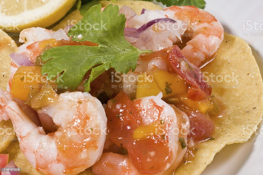 Shrimp Tostada stock photo