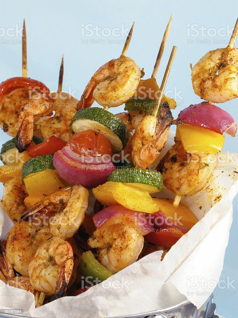 Shrimp & Vegetable Kebabs royalty-free stock photo