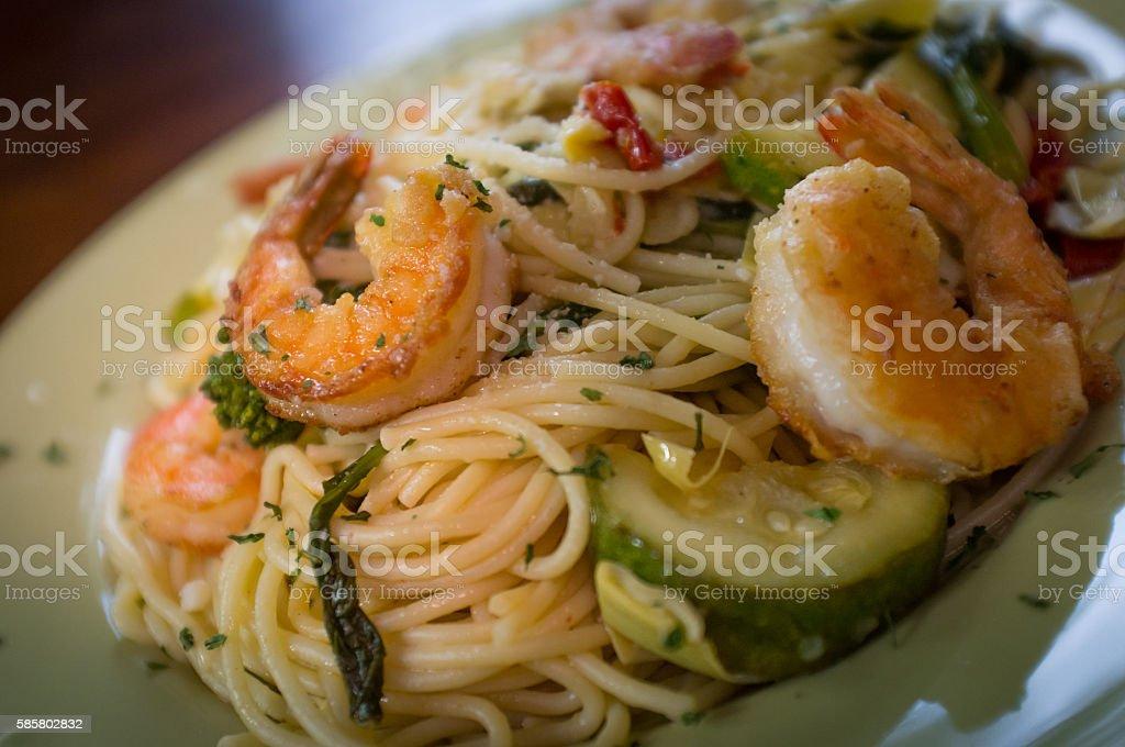 Shrimp White Wine Sauce stock photo
