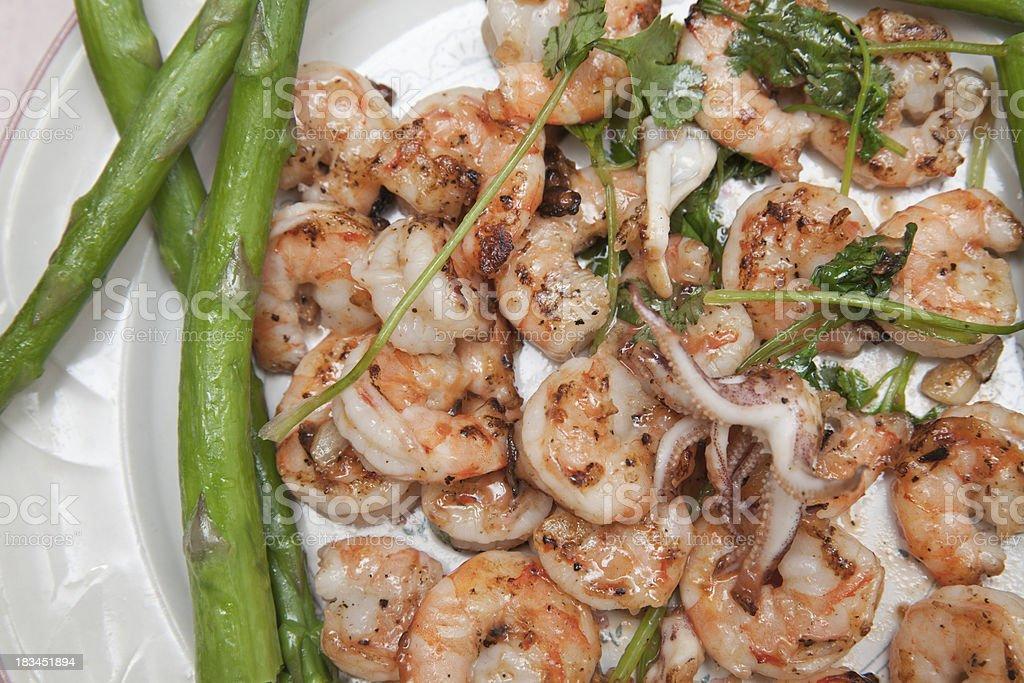 shrimp with asparagus royalty-free stock photo