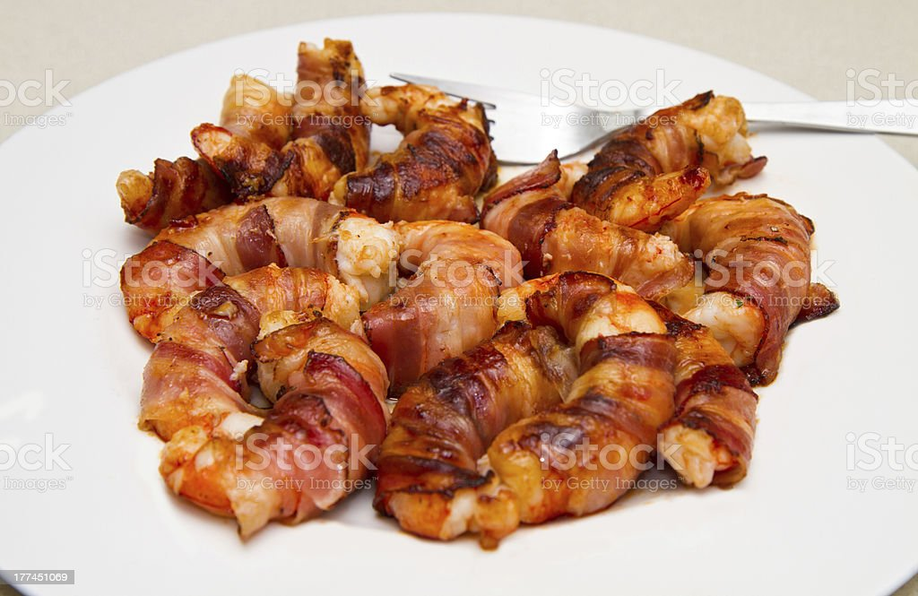 shrimp with bacon stock photo