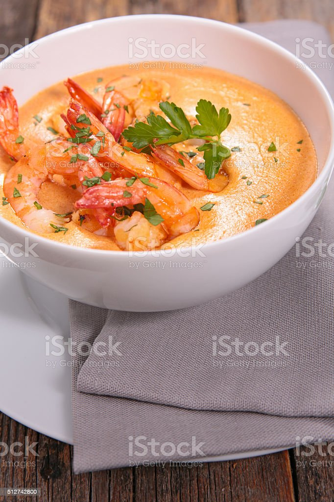 shrimp with coconut milk and curry sauce stock photo
