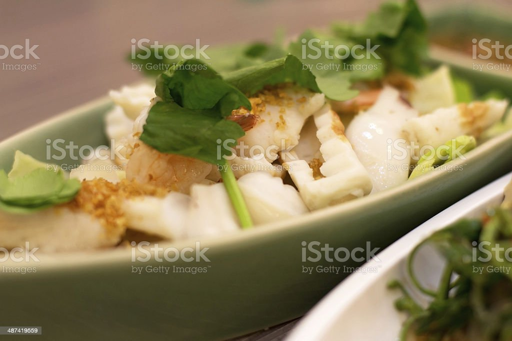 Shrimp with fish and squid stock photo