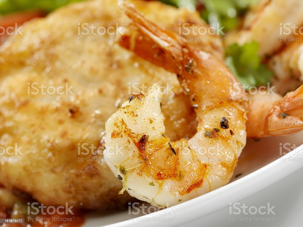 Shrimp with Grit Cakes stock photo