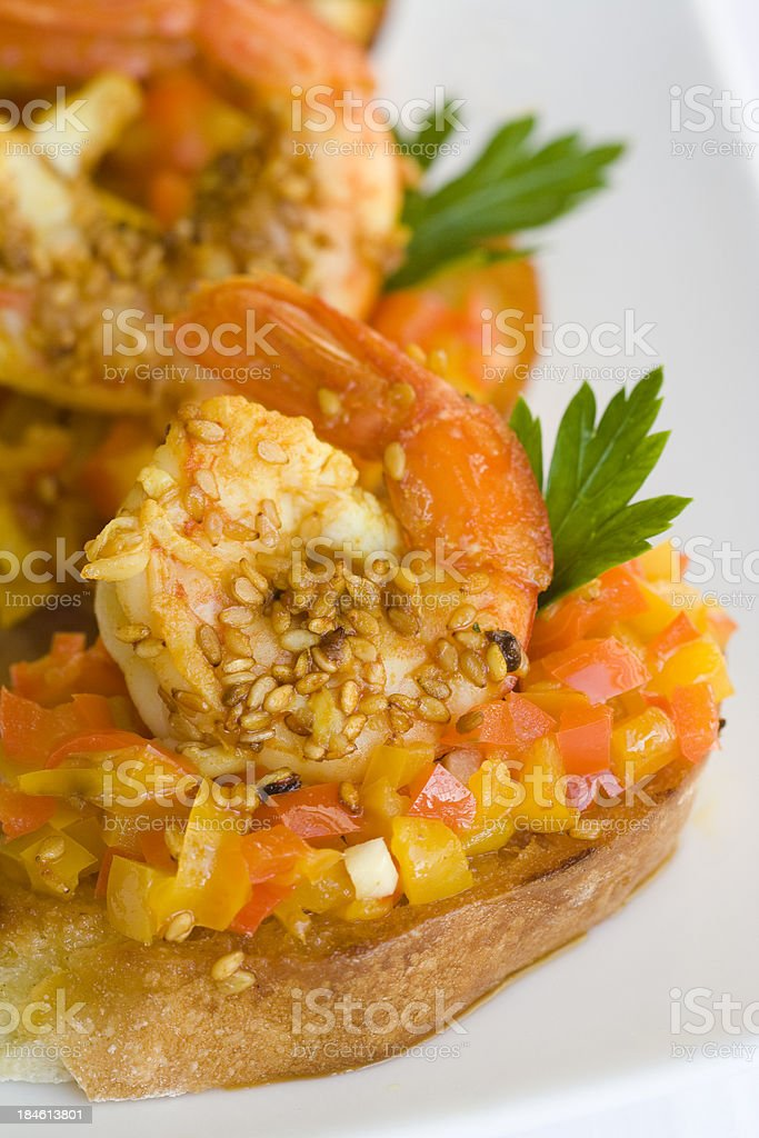 Shrimp with Peppers on Bruschetta stock photo