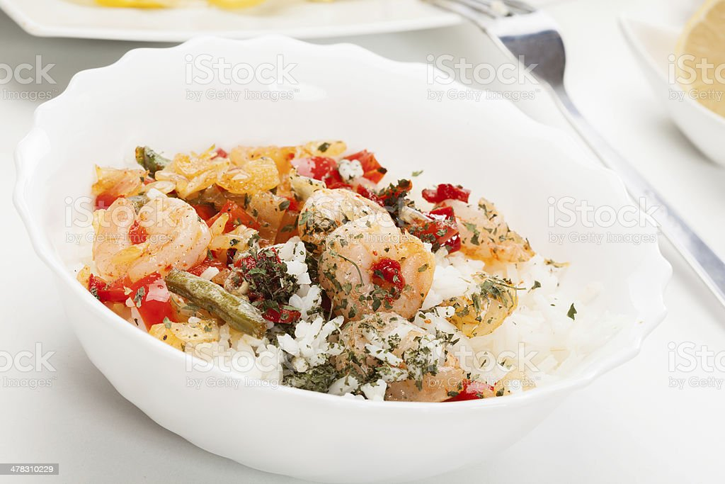 Shrimp with rice royalty-free stock photo