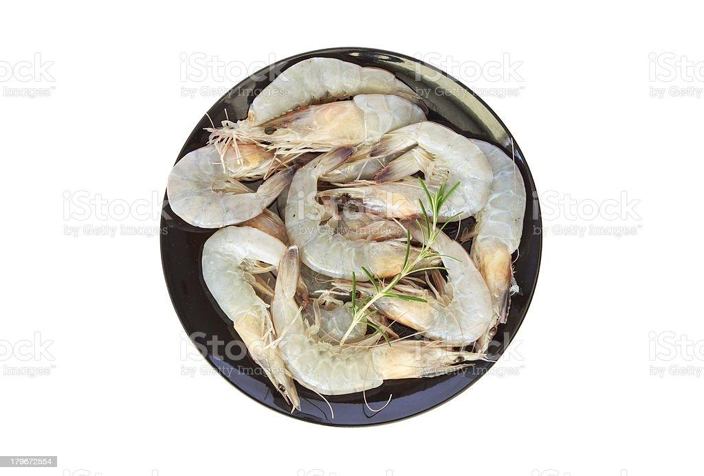 Shrimp with rosemary royalty-free stock photo
