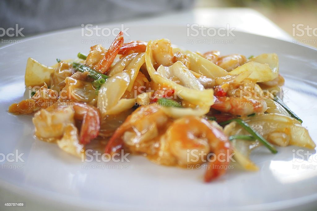 Shrimp with salted egg. stock photo