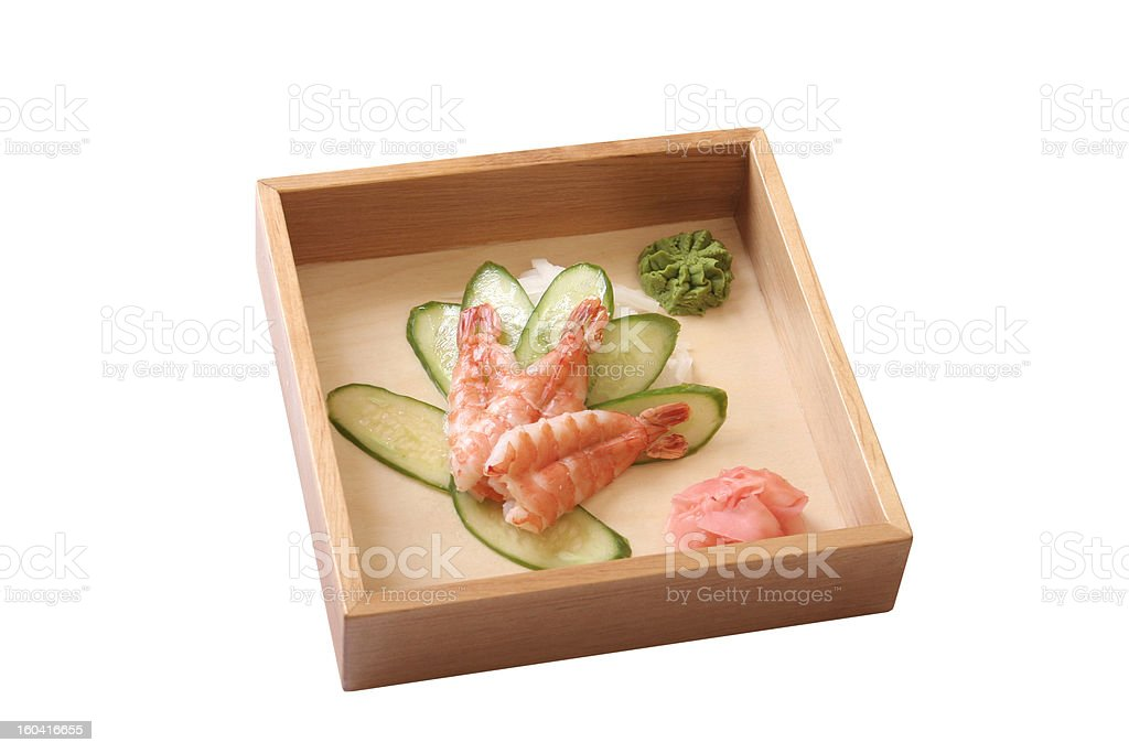 shrimp with the cut cucumber royalty-free stock photo