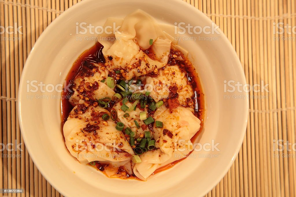 Shrimp Wonton in chilli oil (红油云吞) stock photo