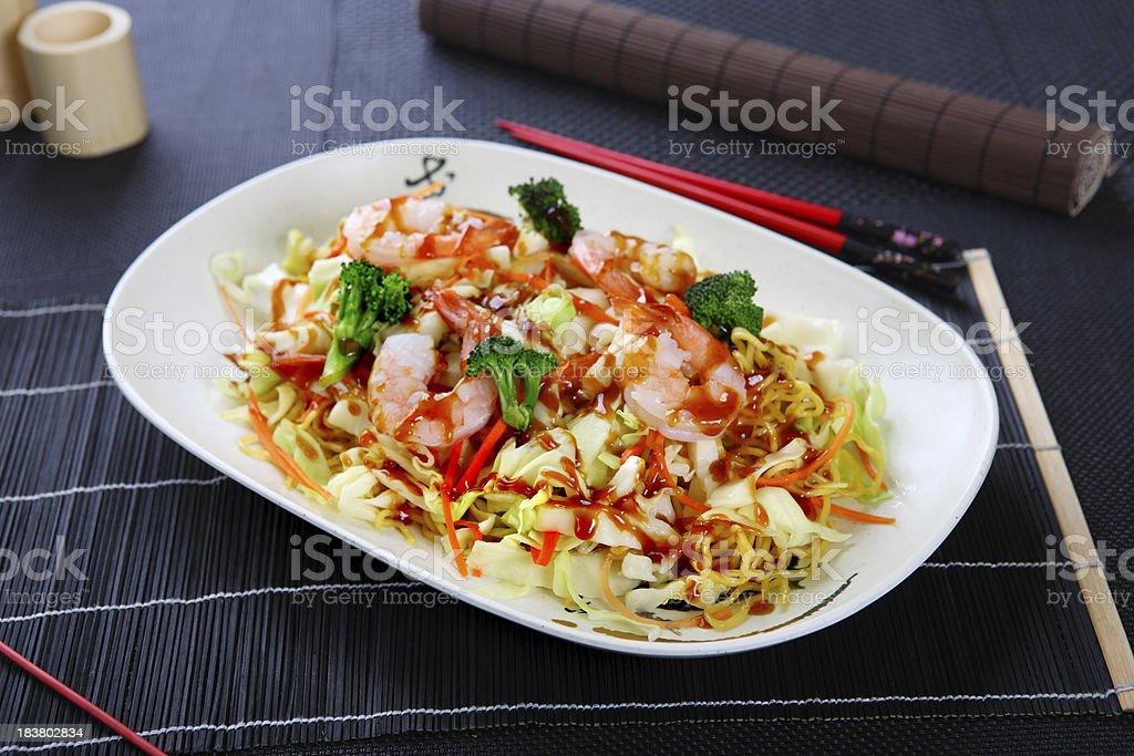 Shrimp Yakisoba stock photo