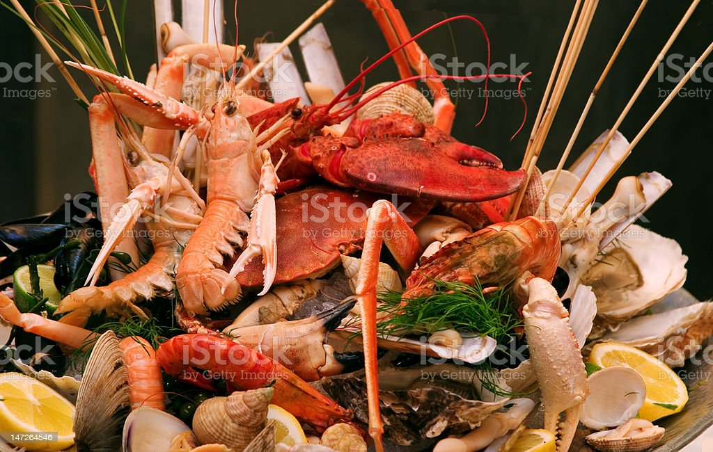 Shrimps and lobsters decorated stock photo
