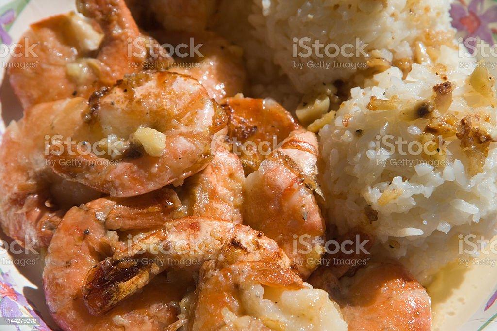 Shrimps and rice stock photo