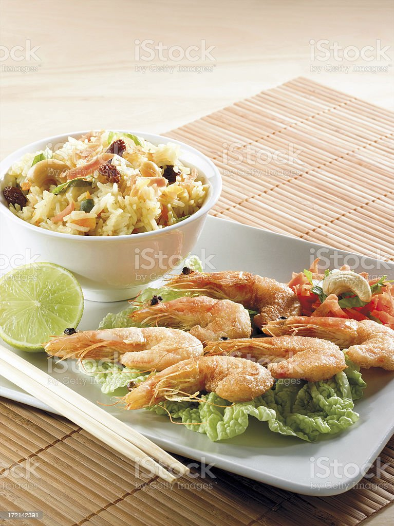 Shrimps and rice royalty-free stock photo