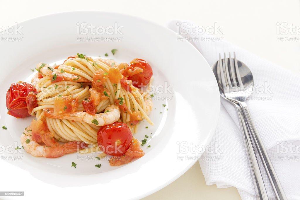 Shrimps And Spaghetti royalty-free stock photo