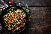 Shrimps and tagliatelle