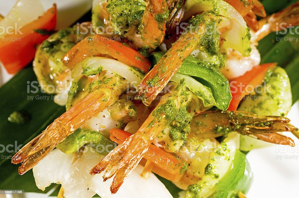 shrimps and vegetables skewers royalty-free stock photo