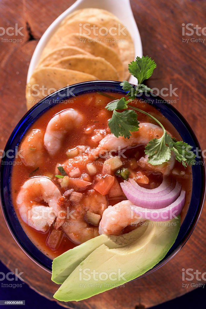 Shrimps cocktail and Mexican tostadas stock photo