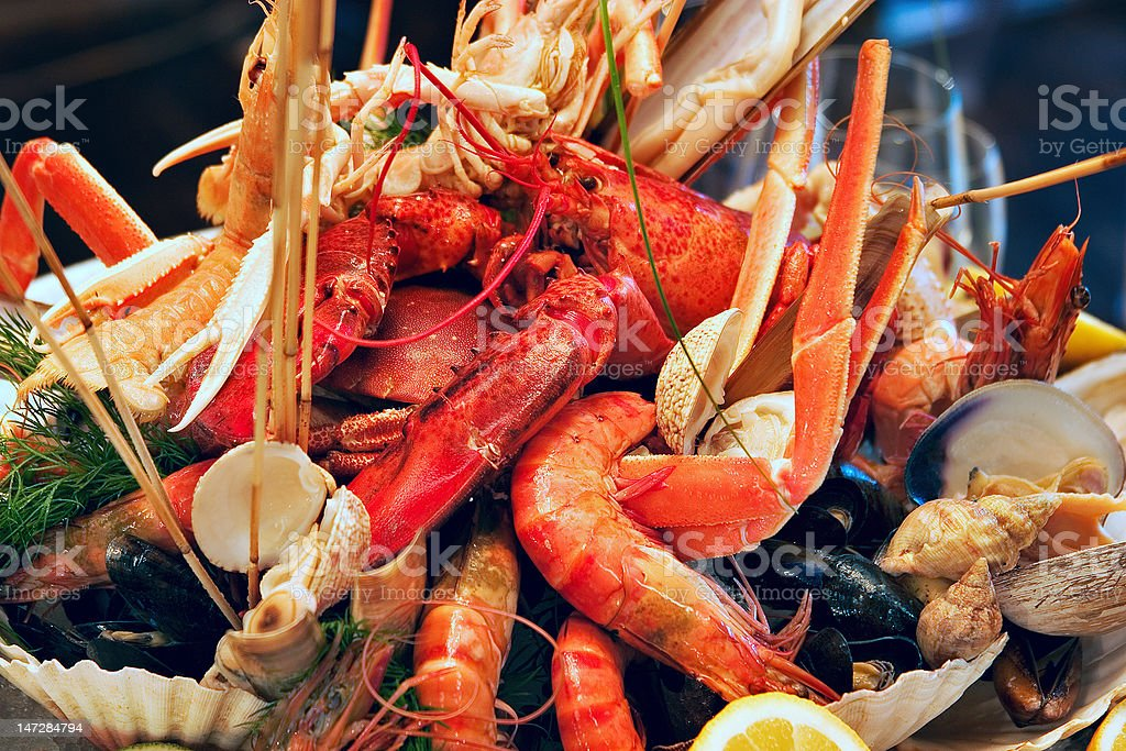 Shrimps decorated and served royalty-free stock photo