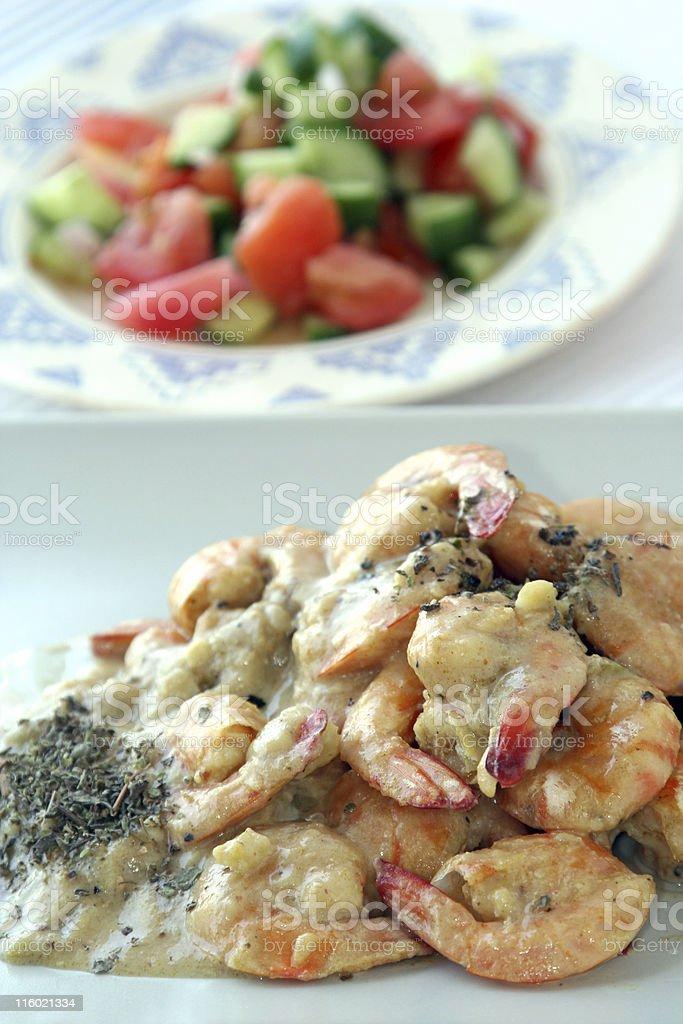 Shrimps dish with sauce , salad royalty-free stock photo