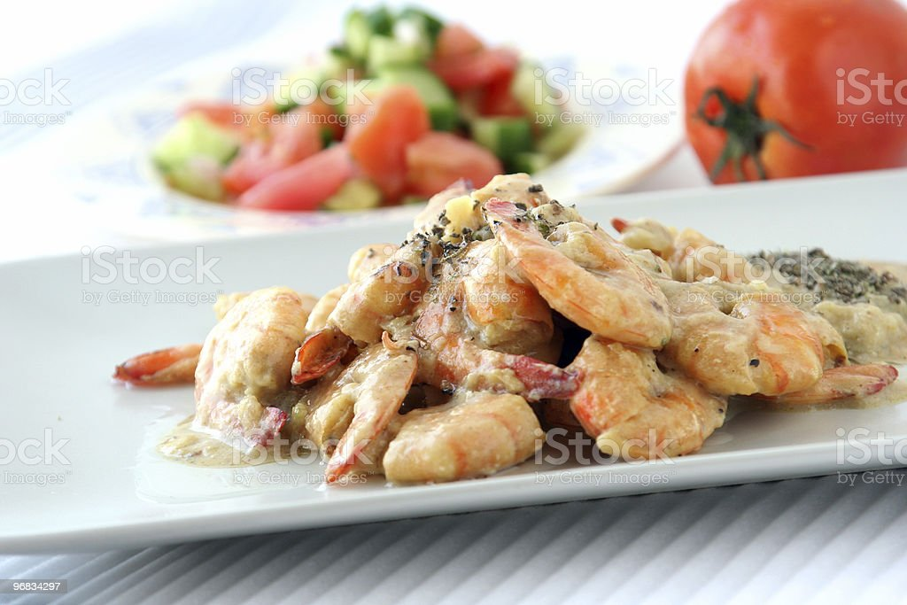 Shrimps dish with sauce & salad royalty-free stock photo