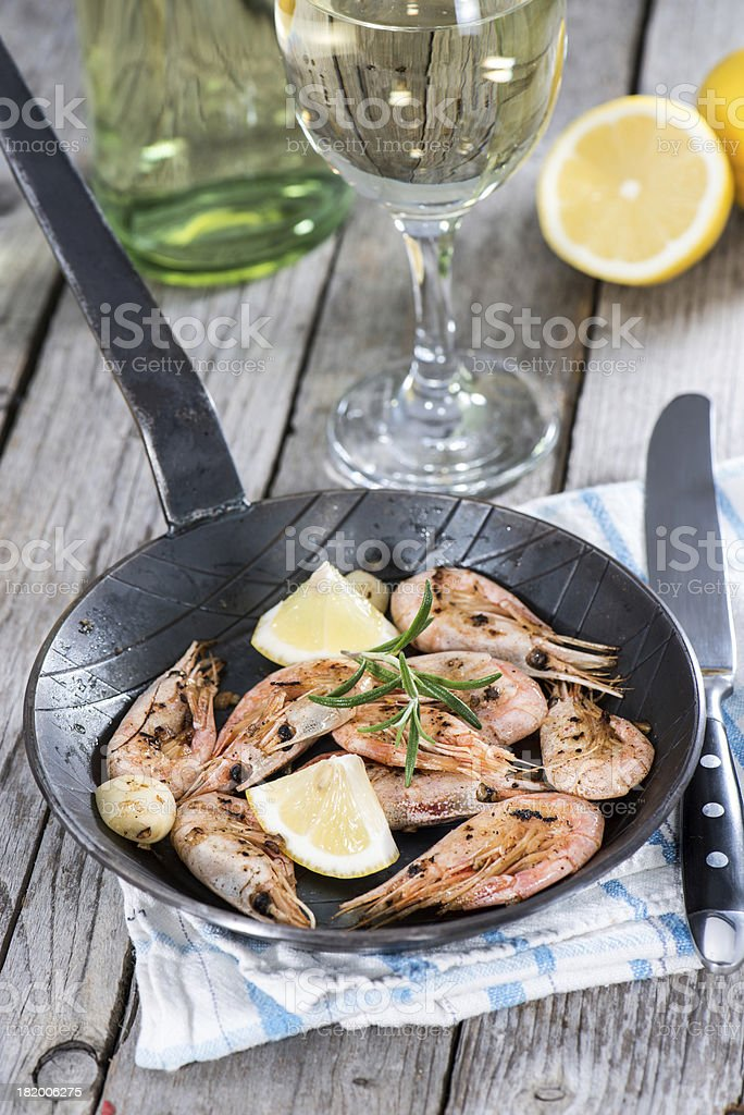 Shrimps in a skillet stock photo
