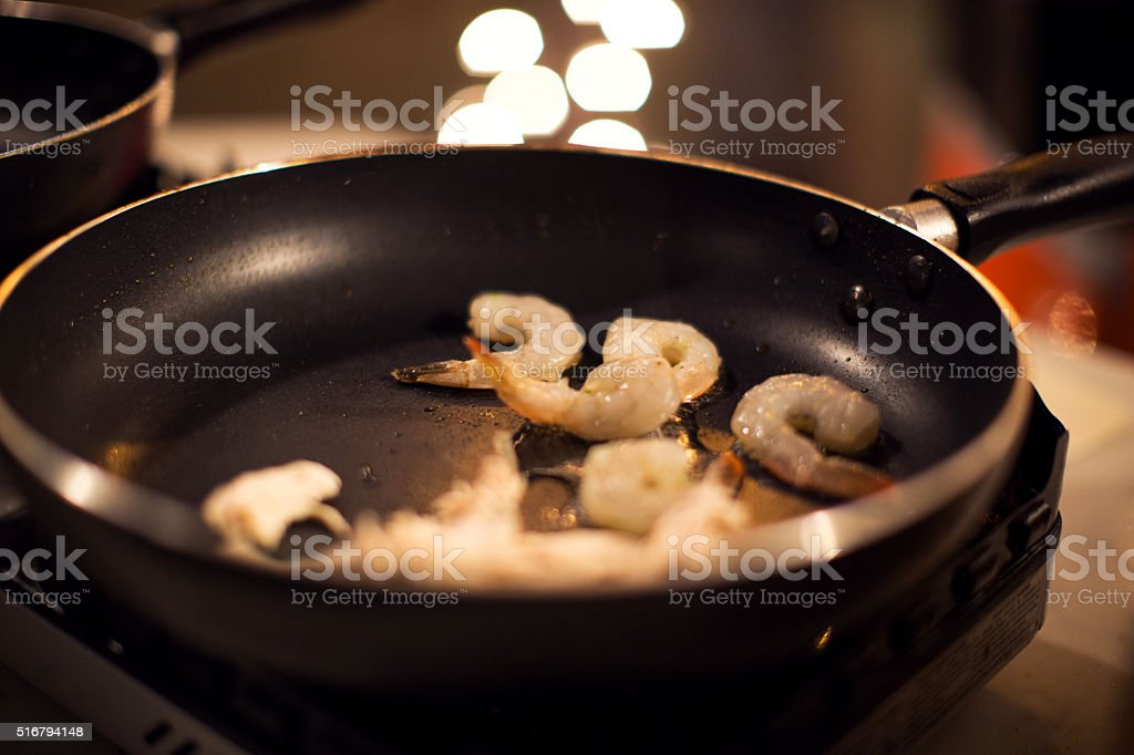 Shrimps in Saute pan stock photo