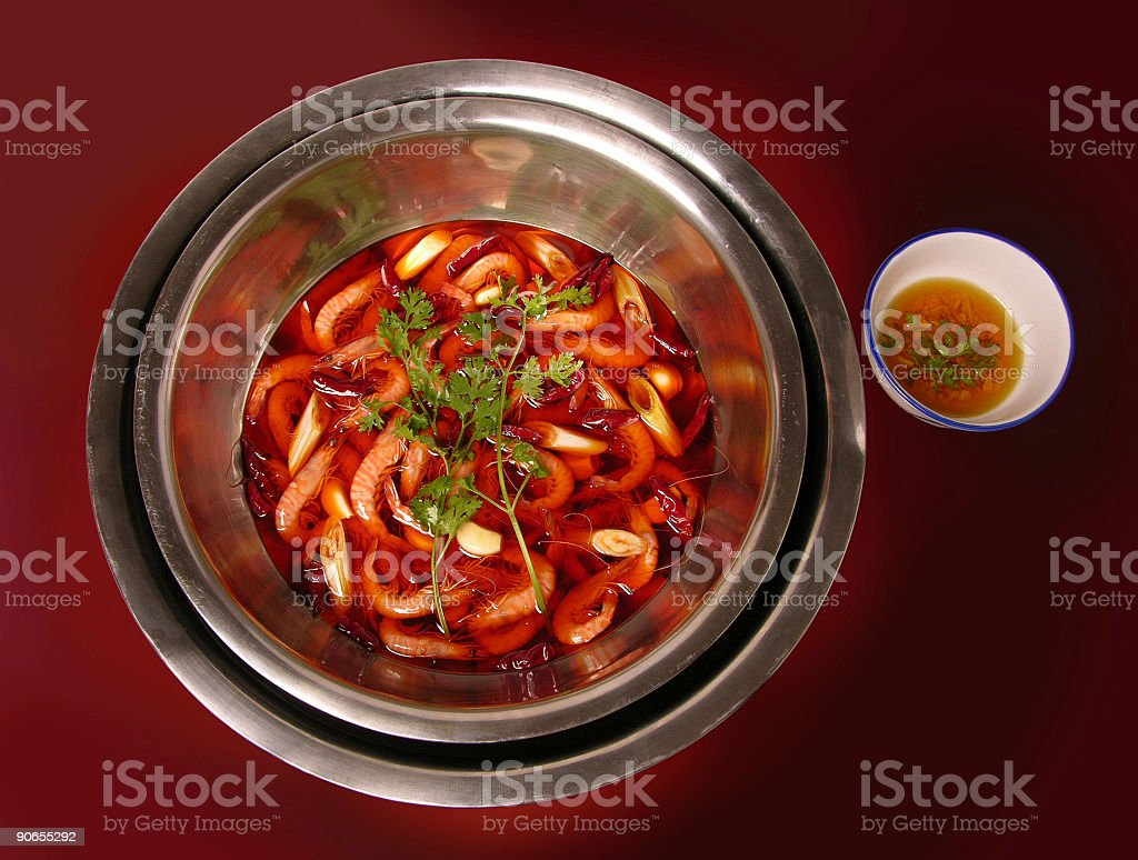 Shrimps in sharp flavor oil (Sichuan cooking, China) stock photo